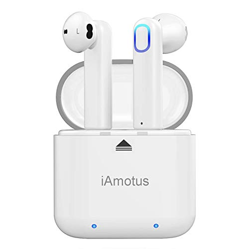Bluetooth Kopfhörer - iAmotus Wireless Bluetooth 5.0 Ohrhörer in Ear Tragbarer Sport IPX6 Kabellose Kopfhörer TWS Stereo Headset mit Mini Ladekästchen/Mikrofon für iPhone Samsung Huawei Android - Weiß