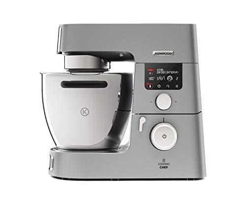 Kenwood Cooking Chef Gourmet KCC9040S – Küchenmaschine mit Kochfunktion, Induktionskochfeld von 20 - 180°C, 24 voreingestellte Programme, 6,7 l Rührschüssel, 1500 W, inkl. 7-teiligem Set, silber