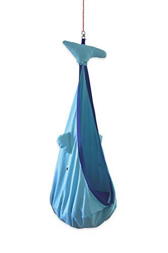 snuutje Hängehöhle für Kinder Willo der Wal Hängesessel, Hängeschaukel mit 2 Sitzkissen, Indoor Hängesitz (Schadstoffgeprüft und GS-Zertifiziert, aus 100% Baumwolle, hält bis 80 kg, mit Zubehör) blau