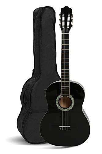 NAVARRA Konzertgitarre 3/4 Starter Set, inkl. Tasche leicht gepolstert mit Rucksackriemen, Lehrbuch und CD, Cliptuner (Stimmgerät) LCD Nadelanzeige, 2 Plektren, schwarz mit cremefarbigen Randeinlagen