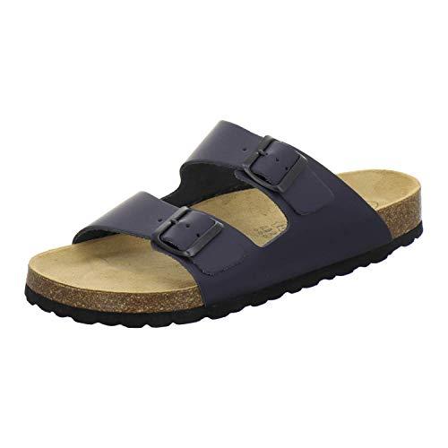 AFS-Schuhe 3100 Bequeme Pantoletten für Herren Leder, Hausschuhe Arbeitsschuhe, Made in Germany (36 EU, Blau/Navy)