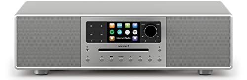 sonoro MEISTERSTÜCK Kompaktanlage mit CD-Player, Bluetooth und Internetradio (Stereoanlage, FM, WLAN, DAB Plus, Spotify, Amazon, Tidal, Deezer) Silber