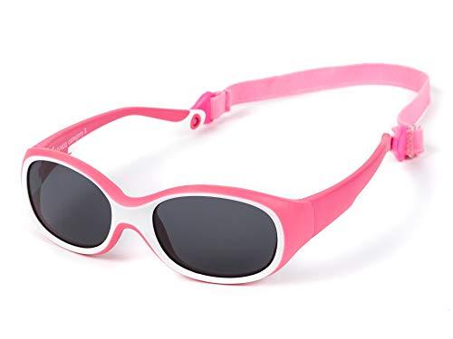 Kiddus Sonnenbrille ULTRA FLEXIBLE für Kinder Kleinkind Mädchen Jungen. Ab 2 Jahren. Aus Gummi. Unzerbrechlich. Einstellbares und abnehmbares Band. Sicherer UV400 Sonnenfilterschutz. OUTDOOR