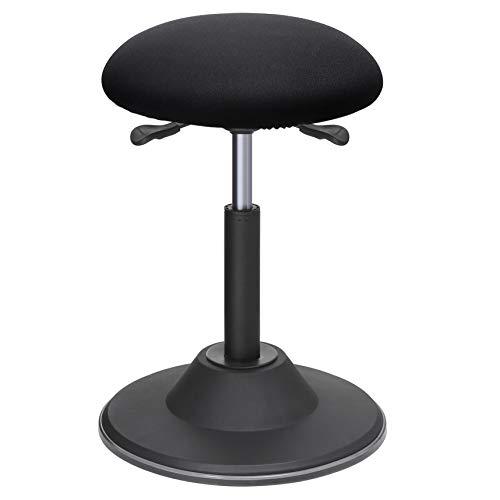 SONGMICS Höhenverstellbarer Bürohocker, ergonomischer Arbeitshocker, um 360° drehbarer Hocker, Sitzhöhe 50-70 cm, mit Anti-Rutsch-Bodenring OSC01BK