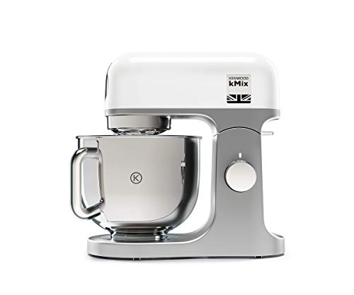 Kenwood kMix KMX750WH Küchenmaschine, 5 l Edelstahl Schüssel, Safe-Use-Sicherheitssystem, Metallgehäuse, 1000 Watt, inkl. 3-Teiligem Patisserie-Set und Spritzschutz, weiß