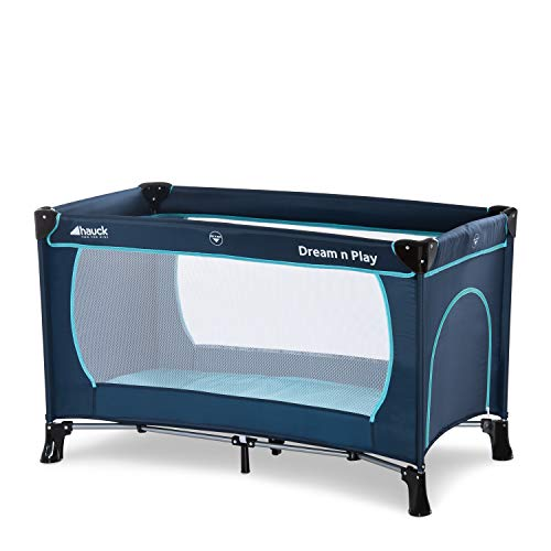Hauck travel bed Dream N Play Plus, incl. Hauck travel bed mattress, portable and foldable, 120 x 60 cm, blue