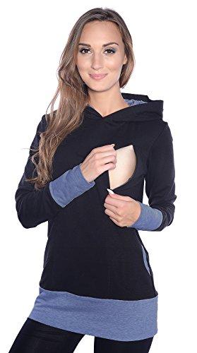 Mija - Umstandsmode / 2in1 Stillpullover & Umstandspullover Stilltop Stillpulli Mona 1035 (L, Schwarz/Jeans)