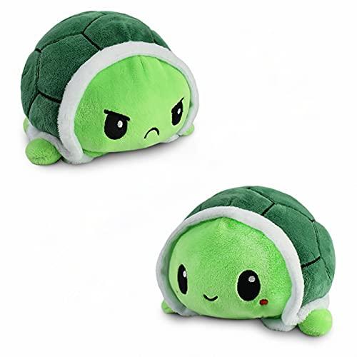 Schildkröte Stimmungs Kuscheltier,Schildkröte Plüschtier, Doppelseitiges Flip-Plüschtier Süße Wendepuppe Kinderspielzeug Geschenk Plüschtiere Kleine Schildkröten Toy für Mädchen Jungen (Grün)