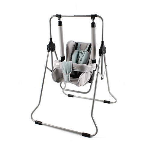 Clamaro 'N1' Babyschaukel 2in1 Indoor Baby Schaukel und Hochstuhl - Schaukelstuhl mit Tablett, Sicherheitsgurt, Bügel, gepolstertem Sitz, kompakt zusammenklappbar - Farbe: N-03 Grau/Türkis