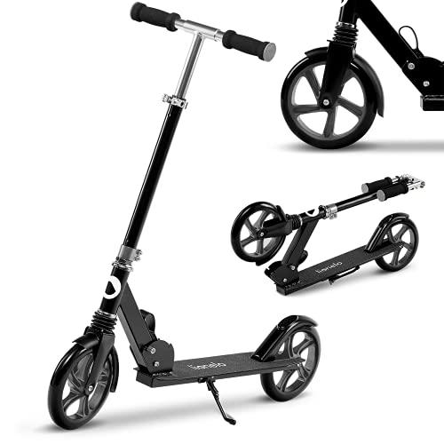 Lionelo Luca Roller Kinder Roller Erwachsene Tretroller bis 100kg Räder 200mm ShockResist Stoßdämpfer einstellbare Lenkradhöhe Bremse zusammenklappbar (Black/Graphite)