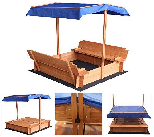 Home Deluxe - Sandkasten Buddelkiste - Mit verstellbarem Dach und Bodenplane - Maße: 130 x 120 x 120 cm - inkl. komplettem Montagematerial | Sandspielkasten Holzsandkasten Sandspielzeug