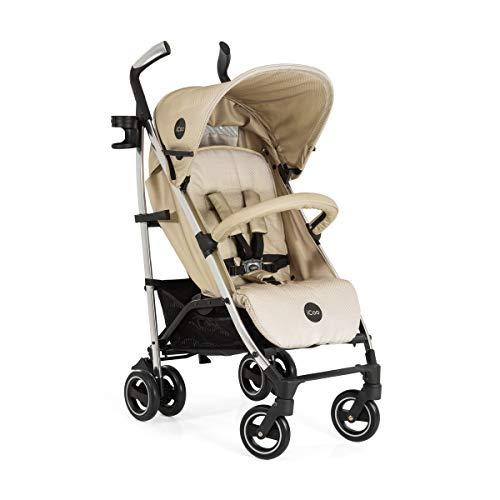 iCOO Pace hochwertiger Buggy bis 25 kg mit Liegefunktion ab Geburt, flach zusammenklappbar, leicht - aus Aluminium, Getränkehalter, großer Korb - Beige Silber