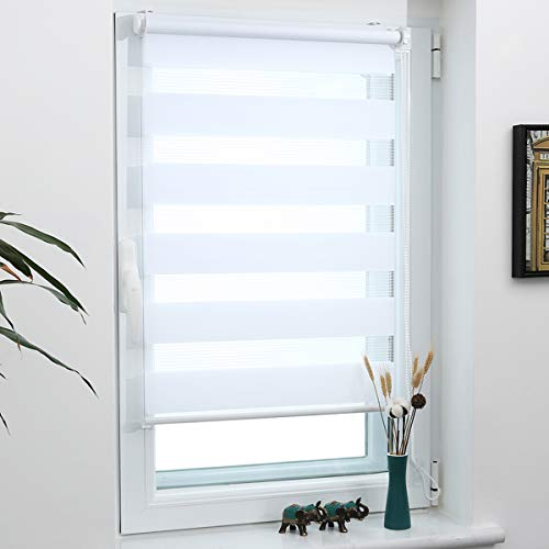 Grandekor Doppelrollo Klemmfix Duo Rollo ohne Bohren lichtdurchlässig und verdunkelnd Fensterollos Sonnenschutz für Fenster und Tür - Weiß - 60x100cm (BxH) / Stoffbreite 56cm
