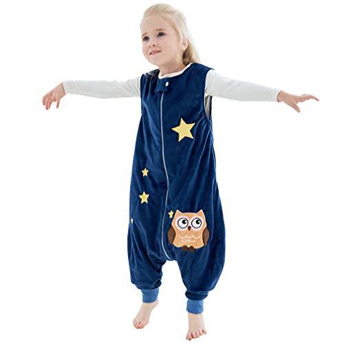 MICHLEY Baby Schlafsack mit Füßen, mädchen und Junge Schlafstrampler Vierjahreszeiten,Blau 5-6 Jahre