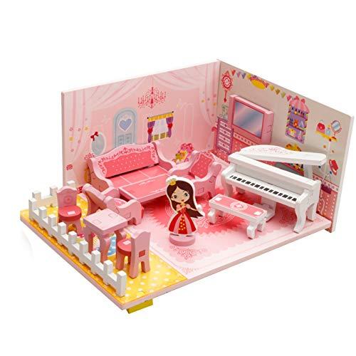 WFF Spielzeug Holz-Kinder Puzzle Spielzeug Mädchen Musik Wohnzimmer Versammlungs-Modell Baustein-Spielzeug 2 3 4 5 6 7 Jahre alt (Color : 3pieces)