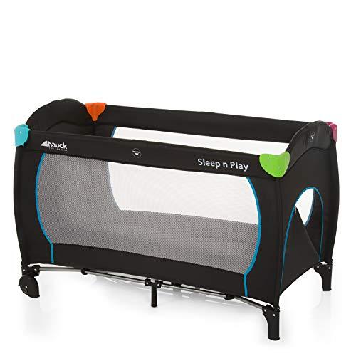 Hauck Reisebett Sleep N Play Go Plus / für Babys und Kinder ab Geburt bis 15 kg / 120 x 60 cm / Leicht / Kompakt Faltbar / Inkl. Trage Tasche / Rollen / Schlupf / Mehfarbig Schwarz
