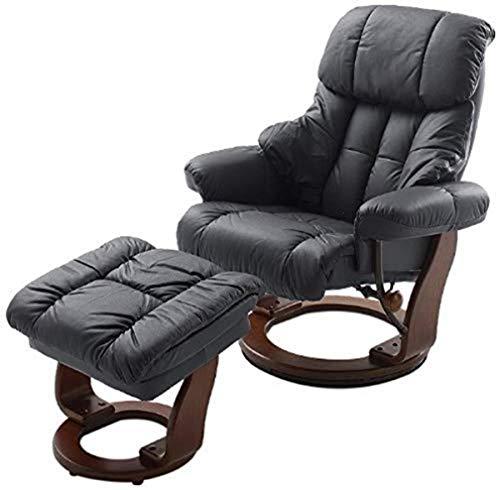 Robas Lund Sessel Leder Relaxsessel TV Sessel mit Hocker bis 130 Kg, Fernsehsessel Echtleder schwarz, Calgary