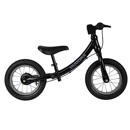 HUDORA Laufrad Advanced Alu, schwarz | Kinder Laufrad mit 12 Zoll Luftbereifung | Lauflernrad inkl. höhenverstellbarem Sattel & Lenker | Kinderlaufrad ab 3 Jahre