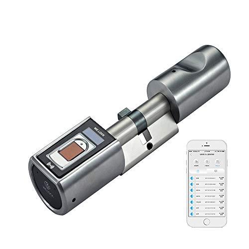 WE.LOCK L6SBR ElektronischerTür-Schließzylnder,biometrischerTüröffnermitFingerabdruck und Fernbedienung, Schloss,Bluetooth&Wi-FiVerbindung,Montage kinderleichtohneBohrung