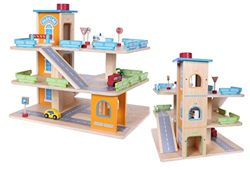 COIL Parkgarage Parkhaus Holz-Spielgarage Lift Auto Garage Holzgarage Kinder Holzspielzeug + Zubehör