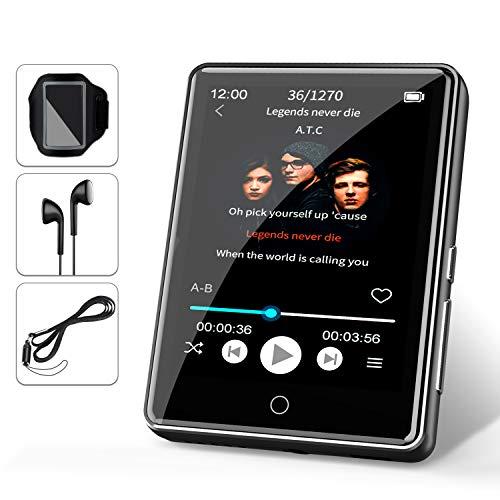 32G MP3 Player JBHOO 2.8' MP3 Bluetooth 5.0, MP3 mit Lautsprecher, FM Radio, Schrittzähler, Aufzeichnung, Voller Touchscreen Unterstützt bis zu 128 GB (Lanyard, Sportarmband Inklusive)