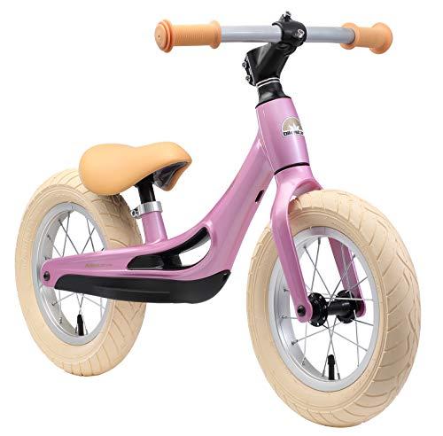 BIKESTAR Magnesium (superleicht) Kinderlaufrad Lauflernrad Kinderrad für Jungen und Mädchen ab 3 - 4 Jahre | 12 Zoll Kinder Laufrad Cruiser Ultraleicht | Pink | Risikofrei Testen