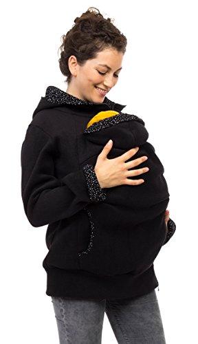 Viva la Mama Schwangerschaftsmode Umstandsjacke Tragepullover warm Jacke für Tragetuch Tragepulli - AHOI schwarz, kleine Punkte - M