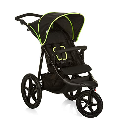 Hauck Buggy Runner / Jogger mit Liegefunktion, klein zusammenfaltbar / für Kinder ab Geburt bis 25 kg, Schwarz/Neon-Gelb