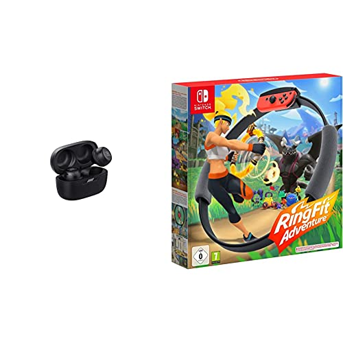 JBL Live Free NC+ TWS – Kabellose In-Ear-Kopfhörer mit Noise Cancelling in Schwarz – Bis zu 21 Stunden Akkulaufzeit – Inkl. Ladebox & Ring Fit Adventure - [Nintendo Switch]