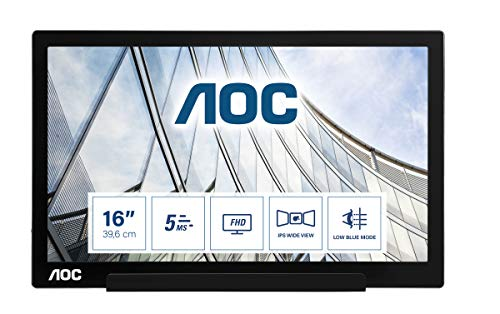 AOC i1601Fwux - 16 Zoll FHD USB-C Powered Portable Monitor, Smart Cover, Auto Pivot, Low Blue-Modus, USB-C (DP Alt-Modus) 1920 x 1080 FHD
