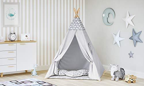 MALATEC Tipi Zelt für Kinder Spielzelt Indianer Baumwolle 3 Kissen Kinderzelt drinnen draußen 8702 , Farbe:Grau- Wolken