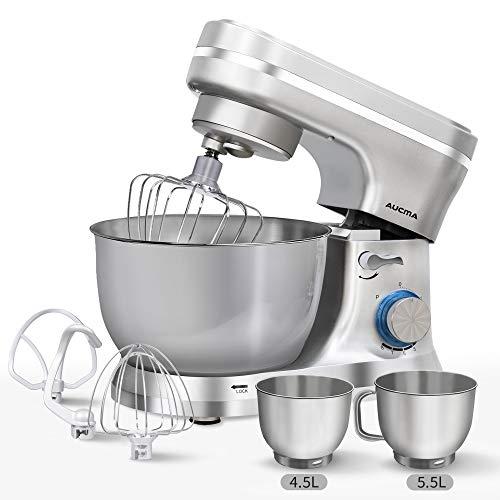 Küchenmaschine, AUCMA 1300W Reduzierte Geräusche Knetmaschine mit 2 Edelstahlschüssel, Rührbesen, Knethaken, Schlagbesen, Spritzschutz, 8 Geschwindigkeit Teigmaschin,Silber