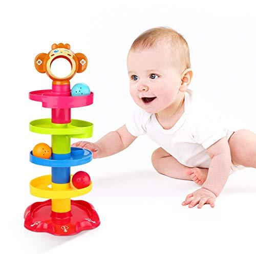 YGJT 5 Schicht Kugelbahn Ball Drop and Roll Wirbelnder Turm für Baby und Kleinkind Entwicklung Lernspielzeug | Stack-Drop-Go-Ramp-Spielzeug-Set GeschenkwahlAktivitätszentrum für 1-3 Jahre (AFFE)