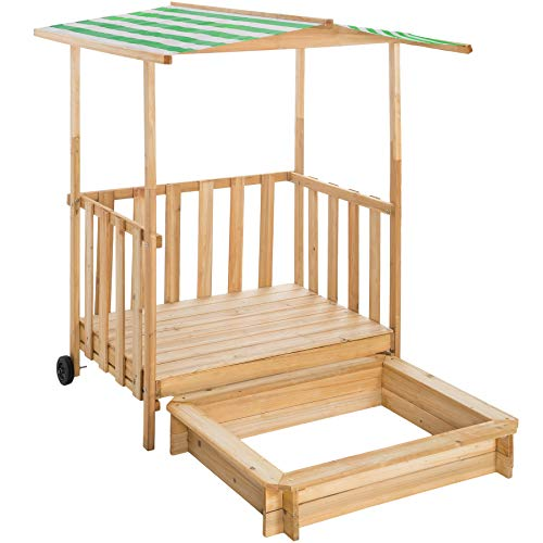 TecTake 800792 Sandkasten mit Dach, Spielhaus mit Sandkasten aus Holz, Sandkiste mit Veranda und Geländer, Sandbox mit Abdeckung und Sonnenschutz - Diverse Farben - (Grün | Nr. 403240)