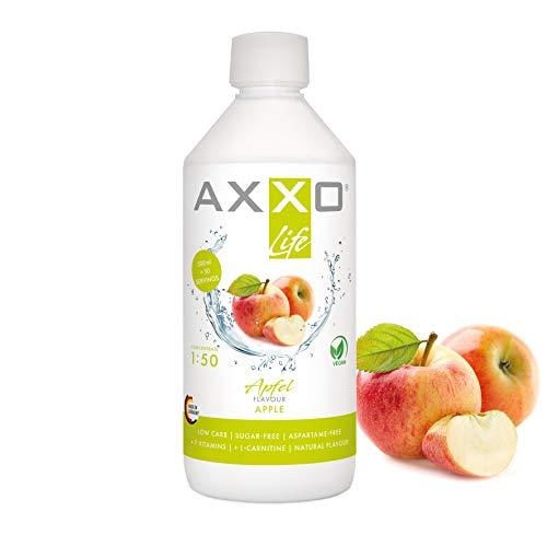 AXXO Life Apfel - Getränkekonzentrat und Vitaminkonzentrat, 500 ml Flasche, Nahrungsergänzungsmittel für die ganze Familie mit 7 Vitaminen + Zink + L-Carnitin & Vegan