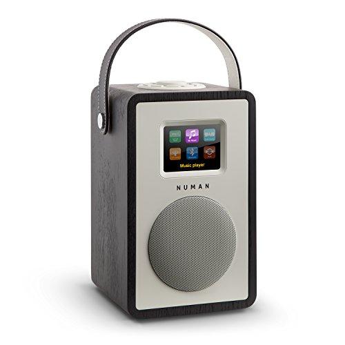 NUMAN Mini Two - Design Internetradio, Retro Look, WLAN Radio, Mediaplayer, DAB/DAB+ / UKW-Tuner, Wi-Fi, Bluetooth, 2-Band Equalizer mit Loudness-Funktion, Dual-Alarm, Timer, AUX, schwarz
