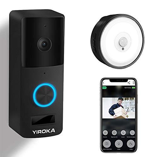 Video Türklingel mit Kamera, YIROKA WLAN Türklingel, mit Samsung 18650 Akku, 2,4G WiFi Gegensprechanlage, mit Bewegungsmelder, IP65 Wasserdichte, 1080P HD, mit LED Nachtlicht Empfänger, Schwarz