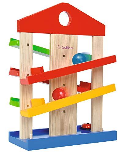 Eichhorn – Kugelbahn-Haus – bunte Rollbahn aus Holz, für Kinder und Babys ab 1 Jahr, mit Glocke und drei Kugeln, Holzspielzeug, Motorikspielzeug