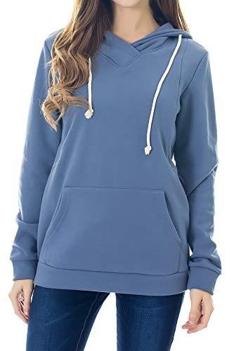Smallshow Stillanzug Mutterschaft Fleece Stillpullover Stilloberteil Umstandsmode Hoodie Sweatshirt zum Stillen Dusty Blue L