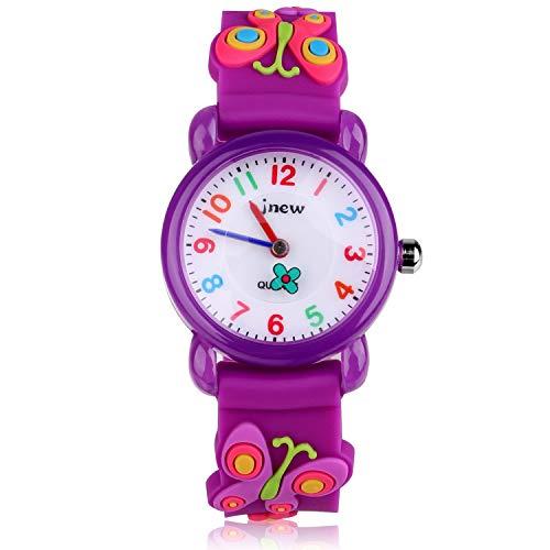 Kinder Uhr, Armbanduhr für Kinder Mädchen, 30M wasserdichte Analog Quarzuhr, 3D Cute Cartoon Uhr, Digitale Kinderuhr, Teaching Handgelenk Uhren mit Silikon Armband, Kids Watch.-Lila