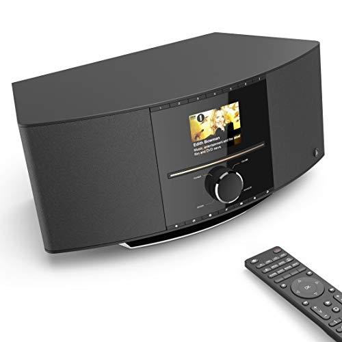 Hama Internetradio mit CD-Player & DAB+ (Smart Radio WLAN/Digitalradio/UKW/CD/Bluetooth/USB/AUX, Spotify/Amazon Music, Multiroom, 40W, Farbdisplay, Fernbedienung/gratis App, Radio-Wecker) WLAN-Radio