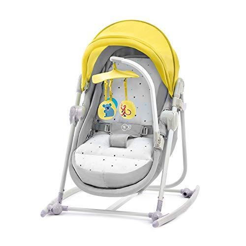 Kinderkraft Babywippe UNIMO, 5 in 1, Babyschaukel, Wippe, Schaukelwippe, Wiege, Spielbogen, Spielzeugen, Zusammenklappbar, Bügel mit Spielzeug, Moskitonetz, Gelb