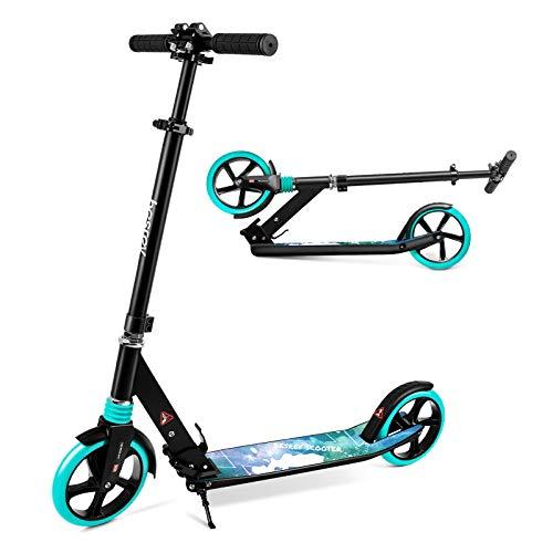 besrey Scooter Kickscooter Tretroller Klappbar Höhenverstellbar Roller für Erwachsene Kinder Teenager ab 8 Jahren City Roller mit 200MM Big Wheel - Gruen