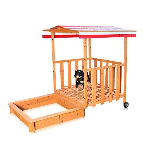 Melko Sandkasten Sandbox mit Abdeckung und Sonnenschutz aus Holz für Kinder, 182 x 100 x 140, mit Veranda und Geländer, Dach rot weiß