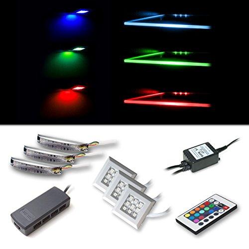 Vladon LED RGB Beleuchtungsset bestehend aus 3 RGB-Glaskantenbeleuchtungen und 3 Unterbaustrahler