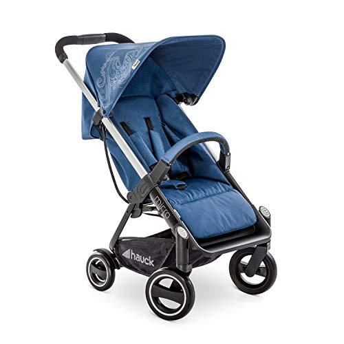 Hauck Buggy Micro / für Babys und Kinder ab Geburt / mit Liegeposition / Einhändig Faltbar / Höhenverstellbar / mit Reflektoren / Alu Rahmen / Star Denim Blau