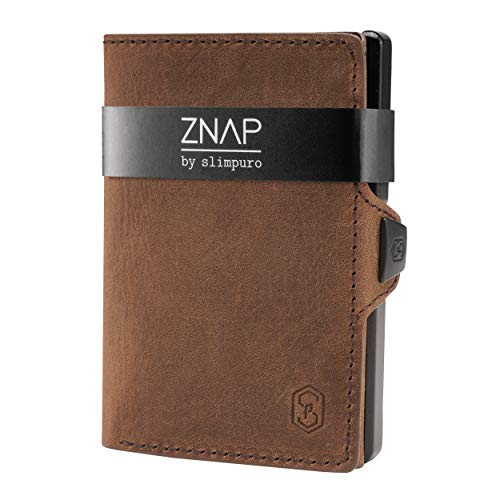 ZNAP Slim Wallet mit Münzfach - Kreditkartenetui mit Geldklammer - RFID Schutz - Braun Vintage Leder - Kartenetui Aluminium, Kreditkarten Etuis, Geldbeutel - bis 8 Karten - Geld Clip von SLIMPURO