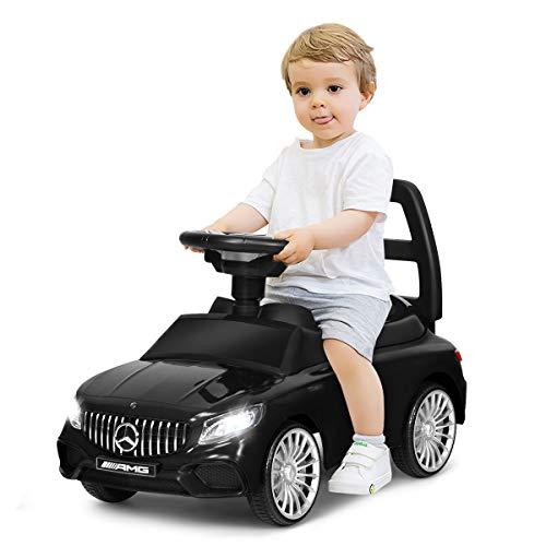 COSTWAY 2 in 1 Mercedes Benz AMG Kinderauto und Schiebeauto mit LED Scheinwerfer, Hupe und Musik, Rutschauto mit Aufbewahrungsfach unter dem Sitz, Kinderrutscher, Spielzeugauto für Kinder (Schwarz)