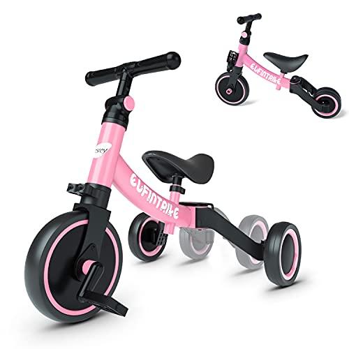 besrey 5 in 1 Laufräder Laufrad Kinderdreirad Dreirad Lauffahrrad Lauflernhilfe für Kinder ab 1 Jahre bis 4 Jahren - Rosa