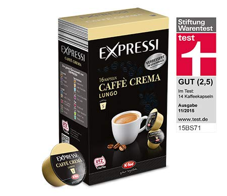 K-Fee Lounge Expressi Caffe Crema Kaffeekapseln, 96 Kapseln, kompatibel mit Teekanne Lounge Kaffee- und Teemaschine